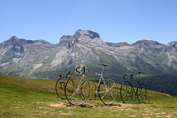 Giant bikes on the Col d'Aubisque, a mountain pass in the department of the Pyrénées-Atlantiques. Fab.