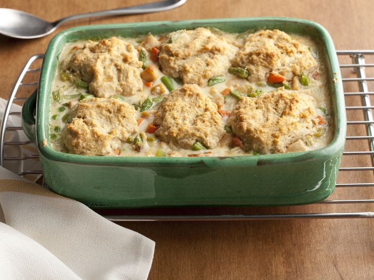 Recipe of the Day: Better-For-You Chicken Pot Pie This creamy, comforting pot pie might have all the looks of a heavy, calorie-laden dinner, but it's not. That's because a few healthy swaps, like whole-wheat flour and low-fat buttermilk, take the splurge out of the comfort food staple (but not the comfort, thank goodness).