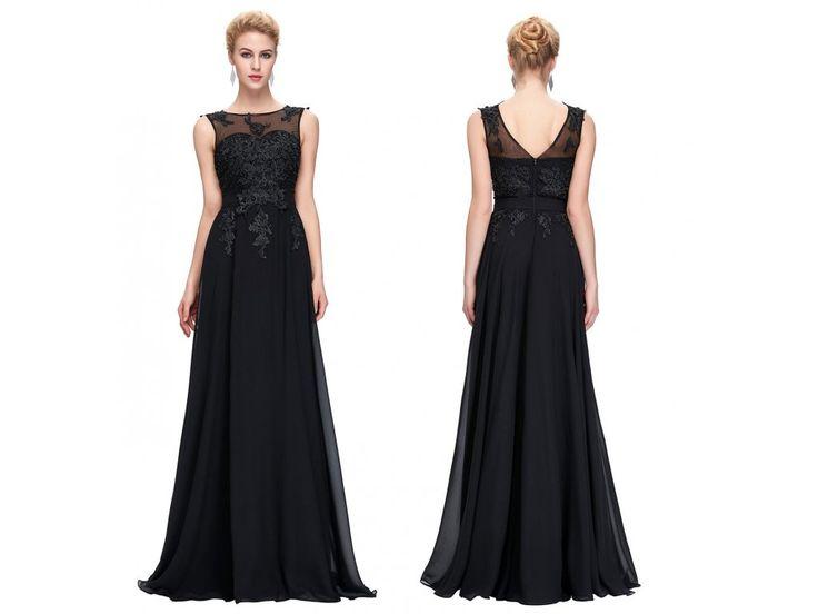 ČERNÉ společenské šaty Grace Karin s perličkami, SKLADEM - Bestmoda - black long evening prom dress with pearls and embroidery