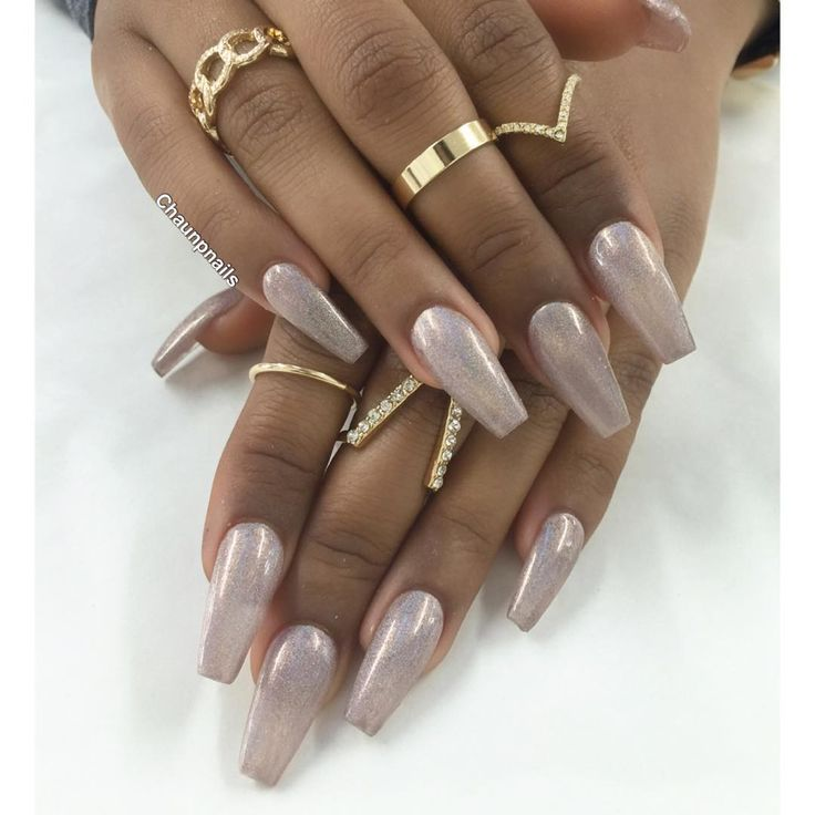 Sculptured ballerina long coffin nails. Color: Holographic ...