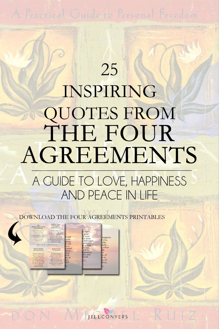 Have you read The Four Agreements? Don Miguel Ruiz gives four principles as a guide to develop personal freedom and love, happiness, and peace. With these principles you tell yourself who you are, what you feel, and what you believe. With these agreements you can change your limiting beliefs. Click through to read the full article and download the free Four Agreements printables. Pin it now and share it with your friends.