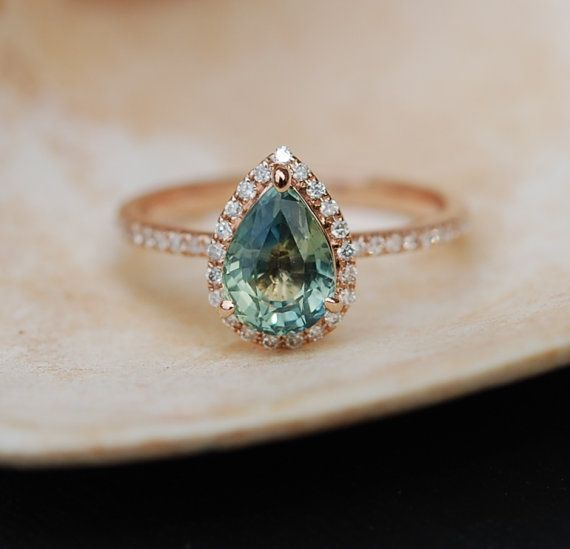 Rose Gold Engagement Ring Teal Blue Green Sapphire pear cut halo engagement ring 14k rose gold.