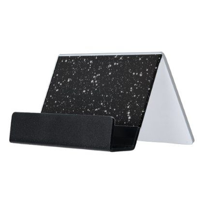 Glitter Stars2 - Silver Black Desk Business Card Holder - black gifts unique cool diy customize personalize