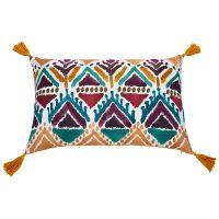 multicoloured cotton cushion with tassels 40 x 60 cm   Maisons du Monde