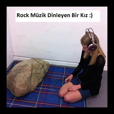 KOMİK RESİMLER, EĞLENCELİ RESİMLER, KARİKATÜRLER: Rock Müzik Dinleyen Kız