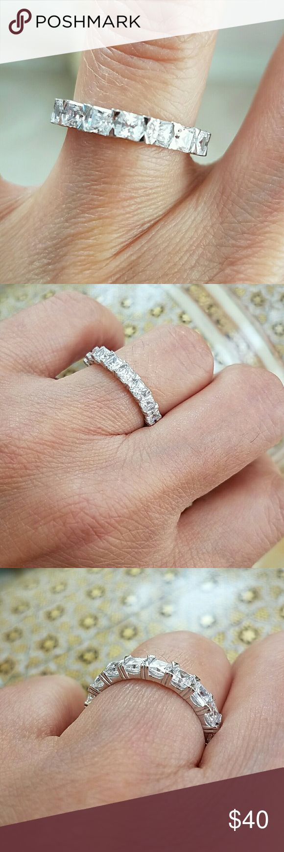 14k gold plated Eternity wedding band size 7 Invisible princess cut CZ stones size 7 Jewelry Rings