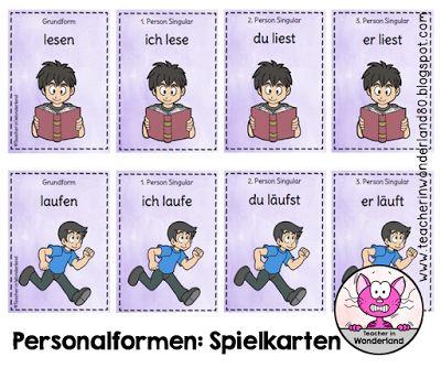 Grundschule Deutsch: Verben und ihre Personalformen: Quartett-Spielkarten