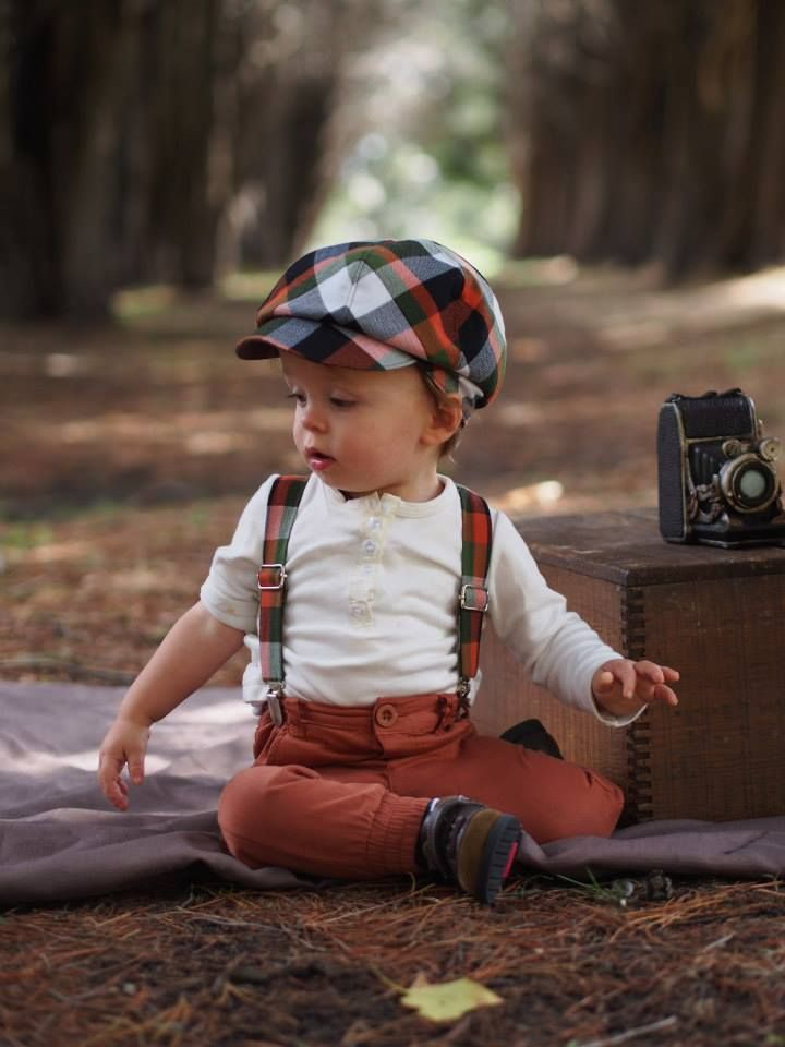 Handmade baby vintage inspired newsboy hat.  Great for smash the cake or everyday wear.  Matching suspenders available also at Little Man's Closet.