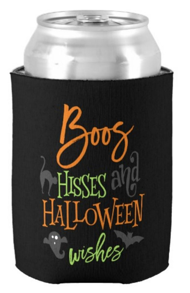 Boos Hisses and Halloween Wishes Halloween Can Cooler, Halloween Party Favor