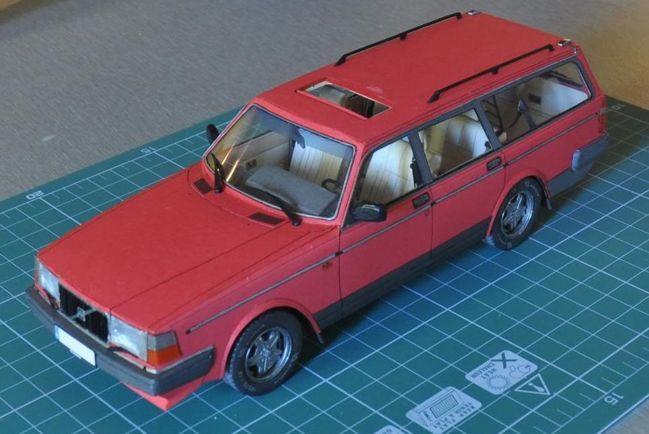 volvo 240 combi paper car free vehicle paper model