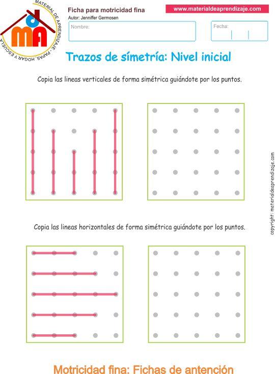 Ejercicio 1:Trazos de simetría paradesarrollar la memoria y la atención. Copia las líneas verticales de forma simétrica guiándote por los puntos.