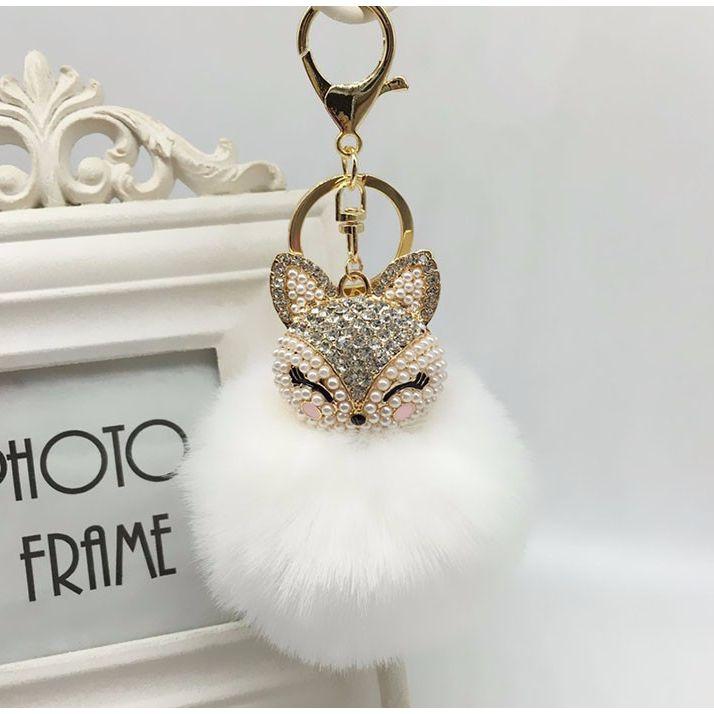 AJ Brands Faux Fur Fox Keychain Five Colors