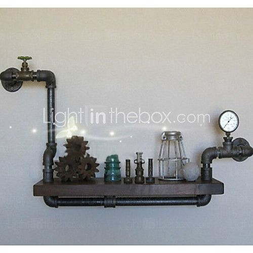 loft amerikansk lantlig stil DIY boken hyllor järnvägghylla bokhylla hylla konstutställning hylla vattenlednings hyllor-Z18 - USD $ 59.99