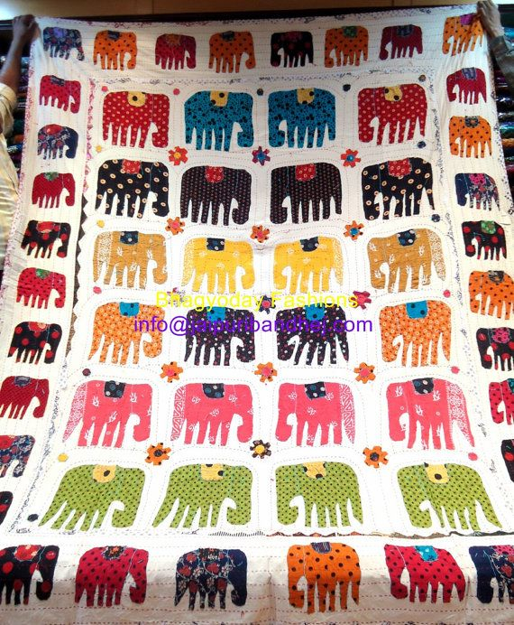 Kantha quilted quilt,Vintage Hand made Kantha Elephant applique antique quilt Bedding Home Decor for  winters bed sheets on Etsy, $64.16 AUD