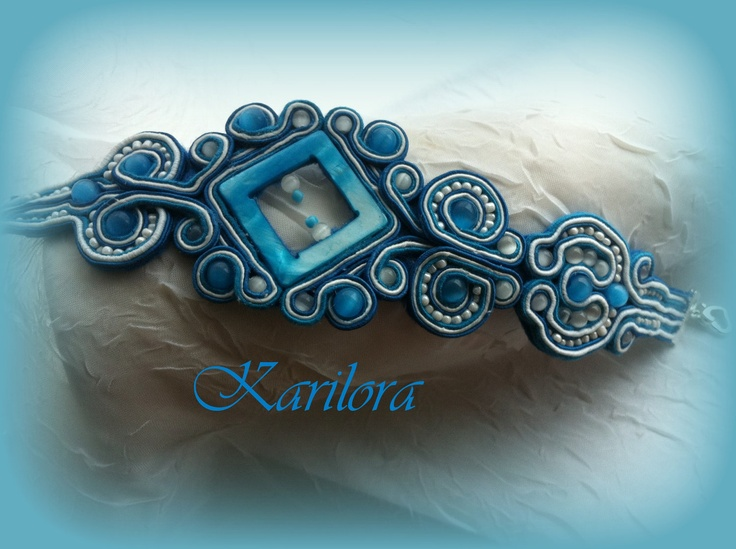 Blue Soutache Bracelet. via Etsy.