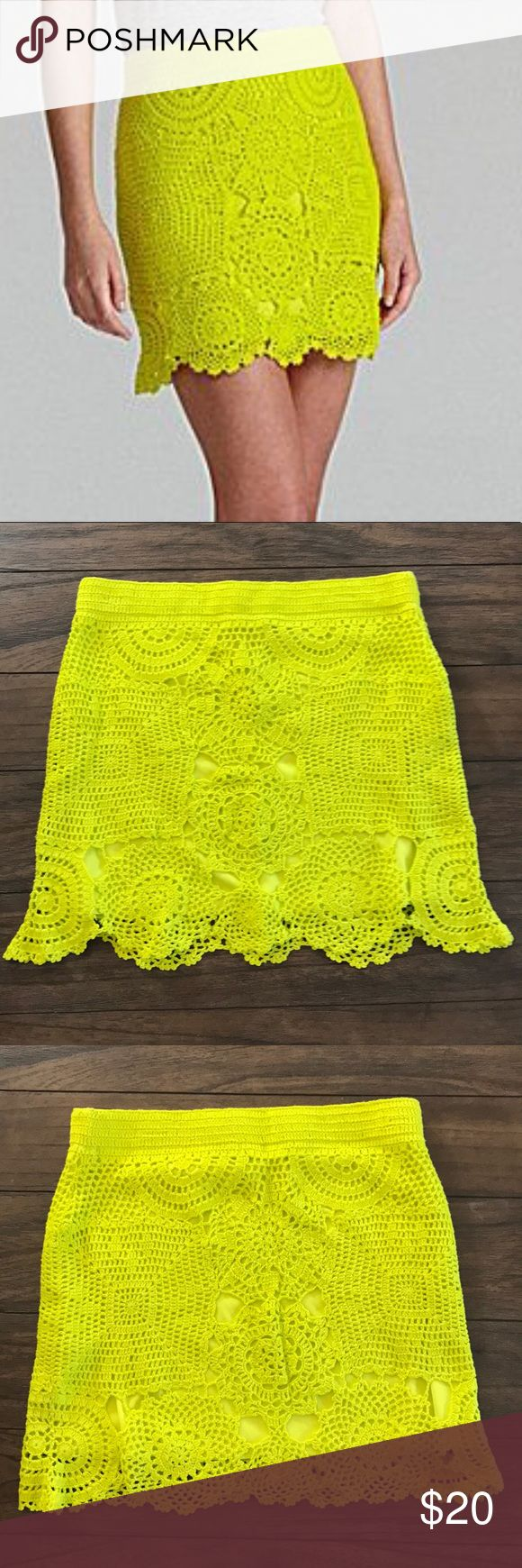 Gianni Bini Shay Crochet Knot Skirt Neon Yellow Vibrant neon yellow crochet knit skirt by Gianni Bini. Elastic waist. Perfect to wear casually on a warm day or wear to a festival. Good used condition with no flaws. 17 inches length, measured flat waist is 16 inches but does stretch 💕 Gianni Bini Skirts