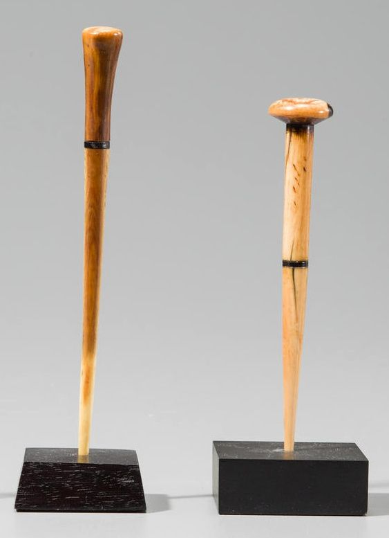 Africa | Two hairpins from the Democratic Republic of Congo | Ivory | 937$ ~ sold (Nov 2012)