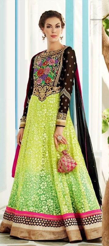 418213: #anarkali - Net, Brasso, Zari, Border, Lace, Machine Embroidery, Sequence #sequin #green #neon #ombre #floral #embroidery #floorlength #gown #ethnicwear #partywear #bridalwear #onlinegifts #sale #christmas #ombre
