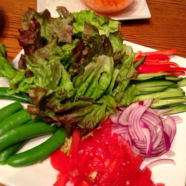 胃腸が疲れてる〜って時に食べるベジタリアン ベトナム春巻き。  エビと焼き豚も子供用には用意。  沢山の野菜が食べたい夜には良いメニューです。  ライスペーパーにたっぷりのコチジャン塗って巻きます。 - 27件のもぐもぐ - Vegetarian  Night?!  セルフ生春巻き。 by Yuri