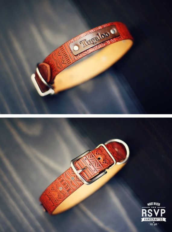 Personalized Leather Dog Collar, Custom Leather Dog Collar, Handmade personalized gift, Tan Stain, Aztec tribal pattern, FREE Name, number