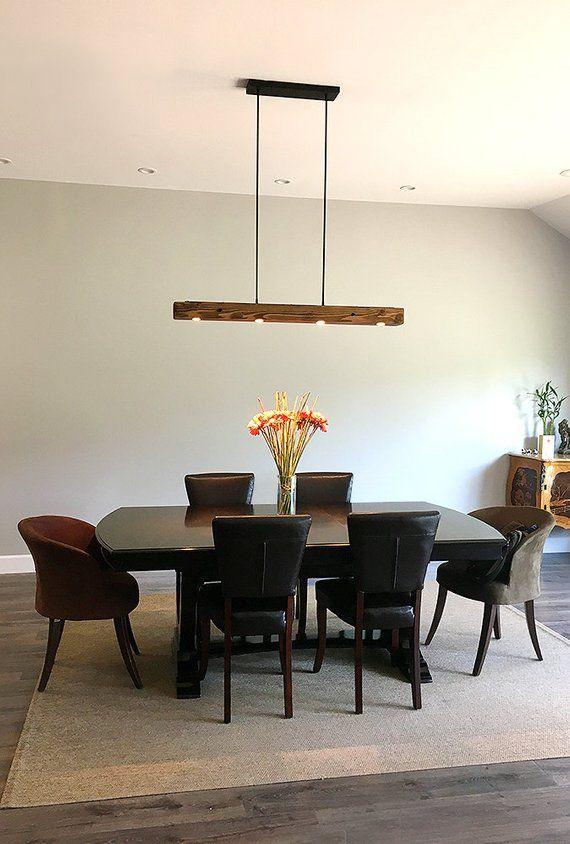 Reclaimed Wood Beam Pendant Spot Light Fixture Rustic Old