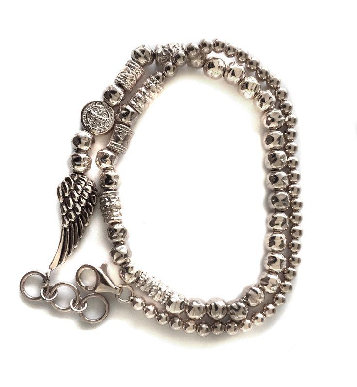 "gioielli moda UOMO Maria Cristina Sterling bracciale argento ""NIKE MY SAINT"" due giri made in Tuscany Italy designed Alessandro Magrino http://shop.mariacristinasterling.it"