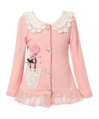 Pink Floral-Accent Lace-Collar Cardigan - Toddler & Girls #zulily #zulilyfinds