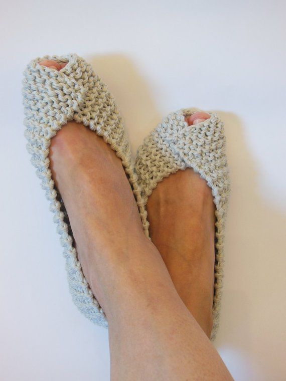 Off White Gray Beige COTTON Women's Slippers -NonSlip Footwear – Ballet flats – Handmade shoes – Knitted slippers – NenaKnit – Gift Wrapping