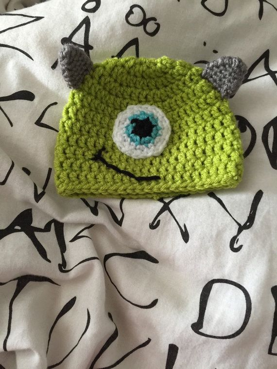 This Monsters Inc character hat can be made into any size you need. It can have flaps and ties (not pictured) or not depending on your
