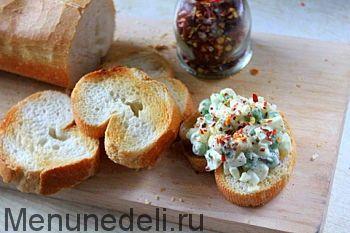 Рецепт закусочных бутербродов с салатом из горошка / Меню недели