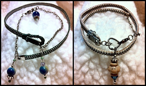 Wrap bracelets made from vintage zippers, beads, and charms.