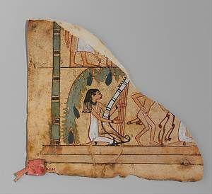 Fragment de cuir retrouvé à Deir el-Bahari. Nouvel Empire