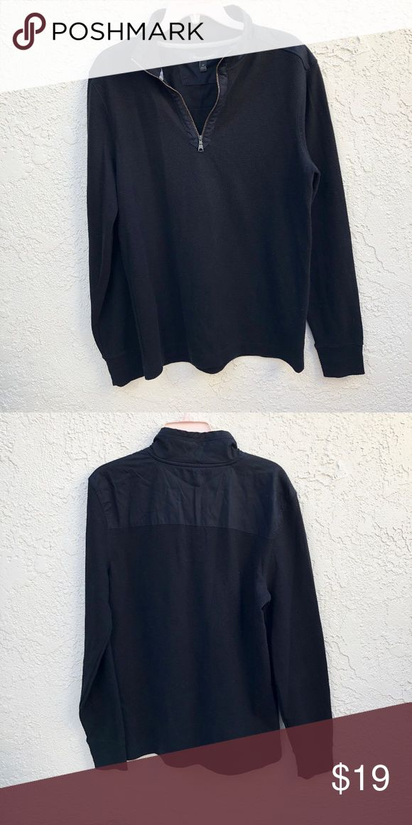 Banana Republic Mens Half Zip Sweater Size M Banana Republic Mens Half Zip Sweater Size M. Black color, different fabric at shoulder. Another sweater my husband said he would wear but ended up only wearing once and sat in the closet taking up space. Time to find a new home! Banana Republic Sweaters Zip Up