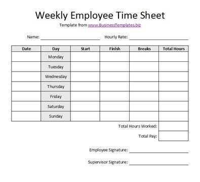 Free Printable Timesheet Templates | Free Weekly Employee Time Sheet Template Example: