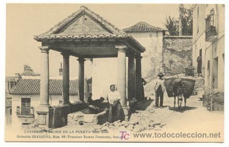 BONITA POSTAL: COLECCION GRANADINA. LAVADERO PUBLICO EN LA PUERTA DEL SOL. (Postales - España - Andalucía Antigua (hasta 1939) - Granada)