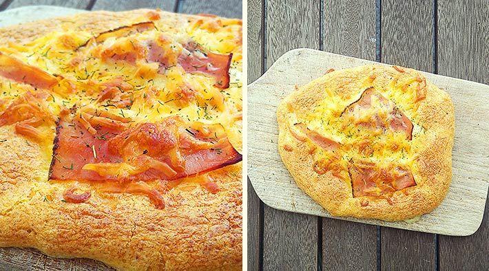 Low Carb Rezept für ein luftiges überbackenes Low-Carb-Fladenbrot (Schinken-Käse). Wenig Kohlenhydrate und einfach zum Nachkochen.