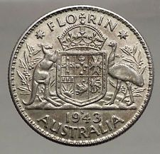 1943 AUSTRALIA - FLORIN Large SILVER Coin King George VI Coat-of-Arms i56690