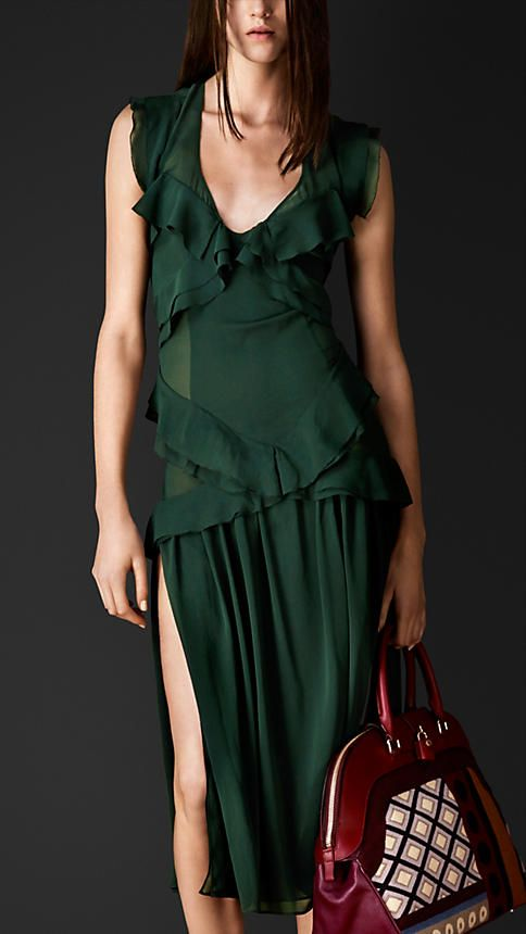 Layered Silk Ruffle Detail Dress   Burberry