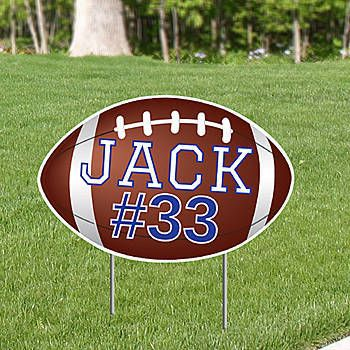 The Football Personalized Yard Sign has the shape and look of a football and can be personalized with your player's name, number and colors.