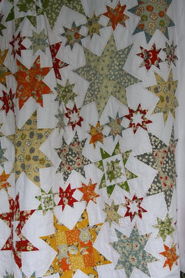 Oh My Stars  With the change in the weather to cooler nights this weekI have managed to finish off the hand stitching around ALL the stars ...
