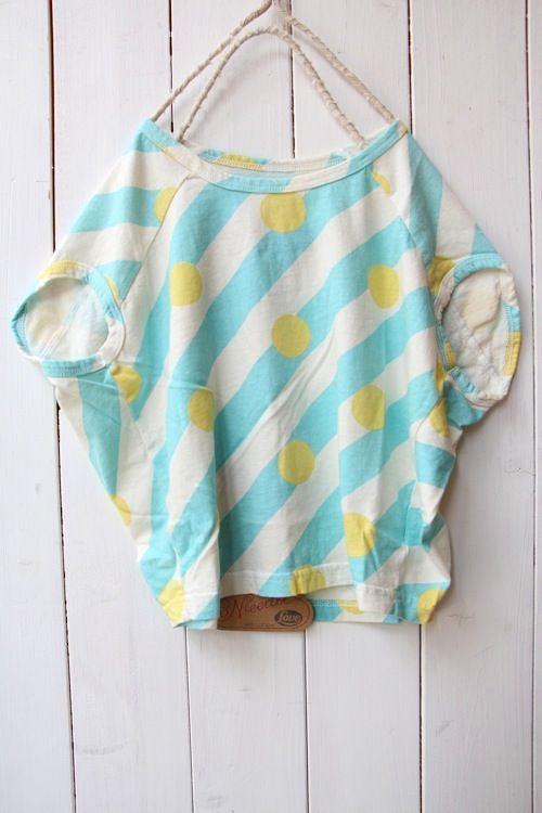 × dot stripe poncho T-shirt / Blue - 100% picnic.