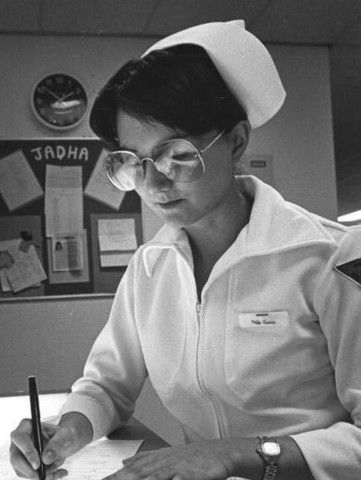 Standard issue nurses uniform in the1970s.
