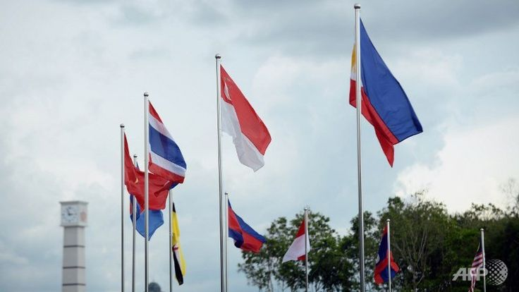 File photo: The flags of member nations of the Association of Southeast Asian Nations. (AFP/Roslan Rahman) ▼1Aug2014ChannelNewsAsia|Singapore can advise developing ASEAN countries by sharing expertise: Burmese Minister http://cna.asia/1ljJrYm