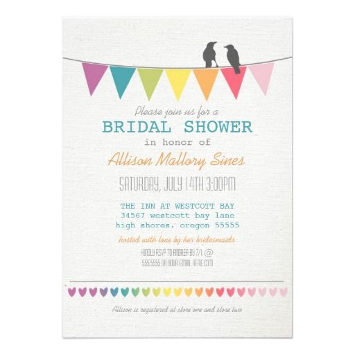 Rustic Bridal Shower Rainbow Bunting Love Birds Personalized Invitations