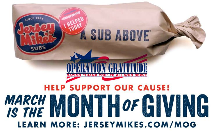 Operation Gratitude is grateful to be among the nearly 150 local charities supported by the 2017 Month of Giving. No matter where you live, if there's a Jersey Mike's Subs near you, you can help support a worthwhile cause! Click through to learn more.
