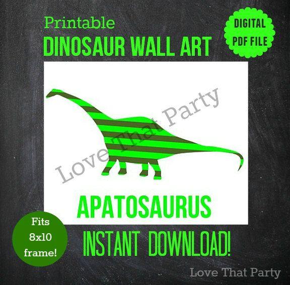 DINOSAUR PRINT, Apatosaurus, Printable, NURSERY Print, Boys Room Decor, Baby Gift, Dinosaur Themed Nursery, 8x10, Pdf, Green, Stripes, Wall by LoveThatPartyInvites on Etsy