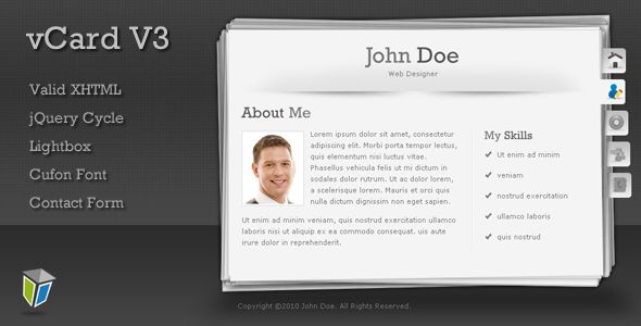 vCard3 - Unique and Professional vCard Template - ThemeForest Item for Sale