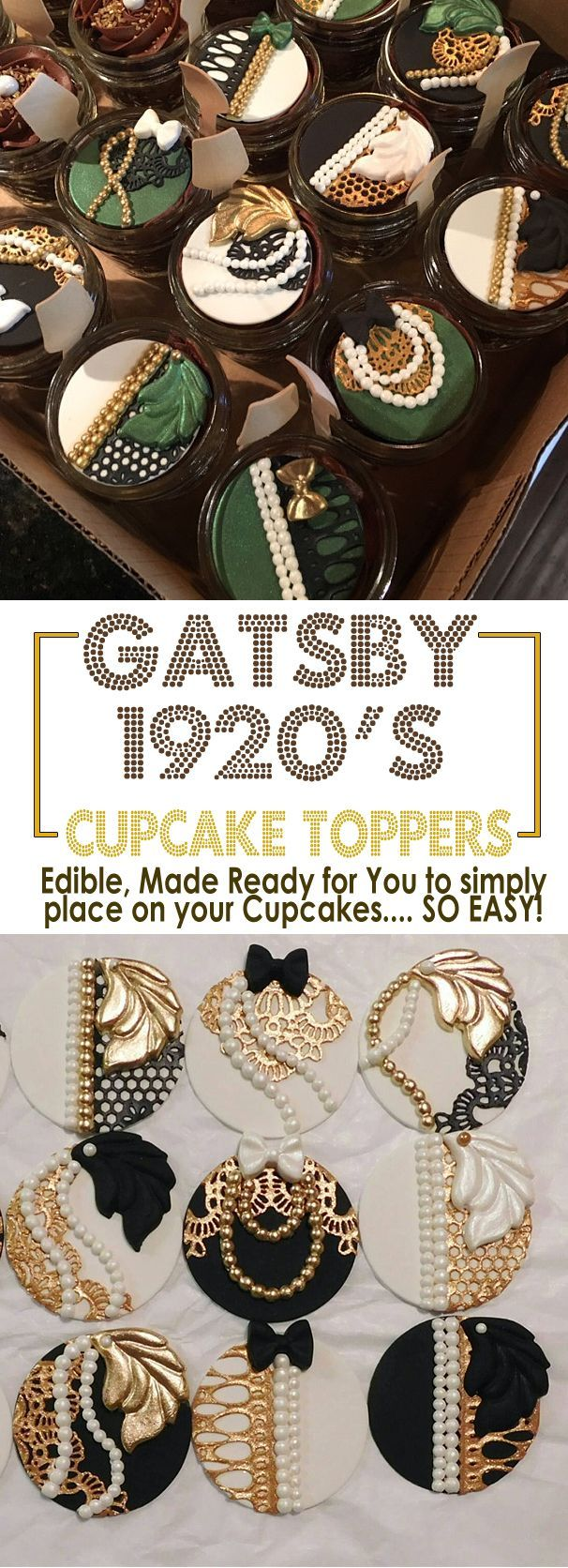 Great Gatsby Cupcake Toppers. You supply the required date and they are made and delivered, ready for you to place on top of your own recipe cupcakes. If you are great at the cupcakes, but no artist on the decorating, then these are for you and your Gatsby Party. Roaring 20's event. #gatsbyparty #cupcakes #recipes #gatsby #cupcaketoppings #cupcaketoppers #art #affiliatelink #party #havingaparty