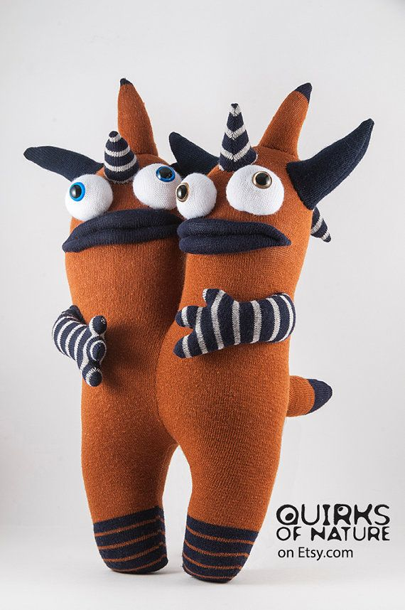 Maynard and Manfred conjoined sock monster by QuirksOfNature on Etsy.com