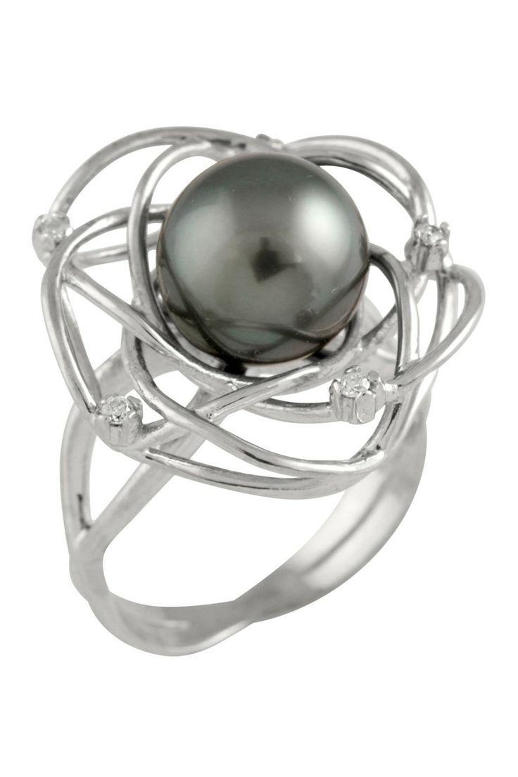Sterling Silver Diamond Black Tahitian Pearl Ring.